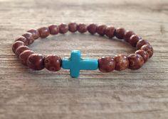 Men's Brown Wood Bead Bracelet & Turquoise Stone by TesoroDelSol, $11.25