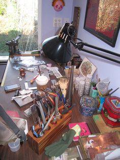 Emily Hickman Designs Studio,  metalsmithing workbench Space Crafts, Home Crafts, Craft Space, Diy Crafts, Jewelry Studio Space, Workshop Studio, Jewellery Quarter, Office Workspace, Jewellery Supplies