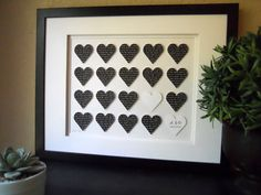 Personalized Wedding Gift : Custom Wedding Artwork paper love hearts- Names & Wedding Date. Love Bride Groom Wedding Gift