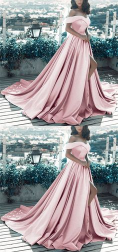 Formal Prom Dresses, Elegant V-neck Off The Shoulder Long Satin Front Slit Evening Dress Whether you prefer short prom dresses, long prom gowns, or high-low dresses for prom, find your ideal prom dress for 2020 Pageant Dresses For Teens, V Neck Prom Dresses, Prom Dresses 2018, Long Prom Gowns, Prom Party Dresses, Ball Dresses, Formal Dresses, Graduation Dresses, Formal Prom