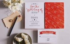 Bright Pattern Wedding Invitation by Honeyhuepaperco on Etsy