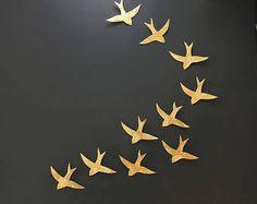 Arte de la pared traga sobre aves de Marruecos oro escultura