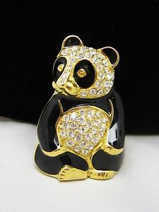Limited Edition TRIFARI TM Black Enamel & Rhinestone Panda Bear Brooch