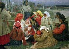 Peasant Women, 1905 (oil on canvas) Postcards, Greetings Cards, Art Prints, Canvas, Framed Pictures, T-shirts & Wall Art by Vassa Epifanova