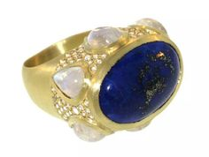 LFrank gold,  Lapis & Moonstone ring