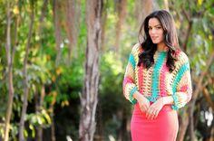 Rosa acessórios em tricô & crochê: Look crochet colorido