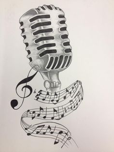 Music Notes And Microphone Tattoo Design By Akadrowzy Angels