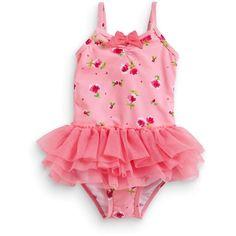 Pink Rose Print Tutu Swim Suit (3mths-6yrs) ($19) ❤ liked on Polyvore
