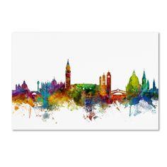Michael Tompsett 'Venice Italy Skyline White' Canvas Art