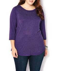 Studded detail give this versatile top a stylish edge. It features 3/4 sleeves, scoop neck and shirt-tail hem. Pair it with jeans and heels for a day-to-night look! #Penningtons