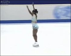 """This is Surya Bonaly, a former figure skater from France.  She was a talented figure skater, and the only one to perform a backflip landing on one foot. Believing that she was unjustly scored in the 1998 olympics after the short program, she decided to make a statement by performing this illegal move.  Surya is essentially the face of """"fuck you, I will do what I want."""""""