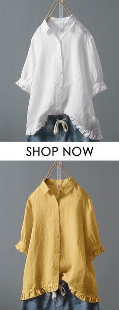 f51906f0f93fa Lace Button Turn Down Collar Solid Color Shirt