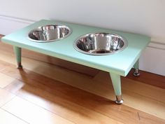 The experts at HGTV.com share easy instructions on how to make a pet feeding station complete with furniture legs.