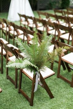 Green and White Classic Organic Seattle Wedding Love this simple fern chair decor for a green weddin Fern Wedding, Palm Wedding, White Wedding Flowers, Seattle Wedding, Floral Wedding, Church Wedding, Wedding Bouquet, Trendy Wedding, Summer Wedding