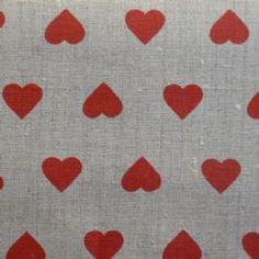 'Flashou'  Hearts Linen Oilcloth in Rouge