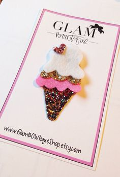 Ice Cream hair clip glitter hair clip Summer by GlamBOWtiqueShop
