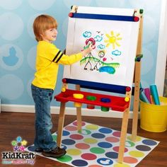 KidKraft Wooden Artist Easel with Paper Roll with Paper Roll, Three Plastic Paint CUps and Two Storage Trays, Brown
