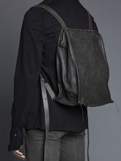 m.a.+  camel leather iron rim backpack