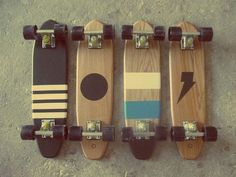 Nice little lineup of simple skateboards. Vintage California skate vibe.
