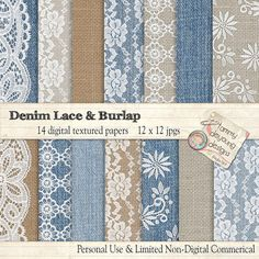 Denim Burlap Lace Digital Papers Burlap Lace & by songinmyheart