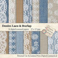 Denim Burlap Lace Digital Papers Burlap Lace & by songinmyheart