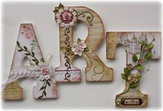 Cute wooden letters decorated with Little Miss. Perfect for scrap room decor!  @Gabrielle Pollacco #bobunny