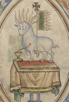 """thegetty: """" Saint John envisions """"a Lamb standing as if it were slain, having seven horns and seven eyes which are the seven spirits of the God, sent forth into all the earth."""" (Apocalypse 5:6) The Vision of a Lamb in the Midst of the Four Living..."""