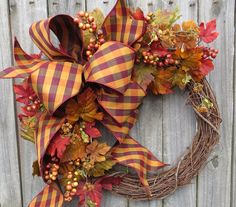 Fall Wreath  Fall / Autumn Wreath  Fall Wreath by HornsHandmade