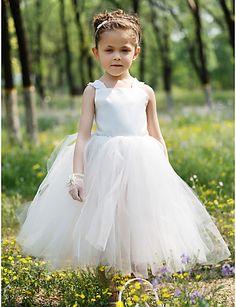 夜会服バトー膝丈サテンとチュールのチュチュドレス/フラワーガールのドレス – JPY ¥ 3,916