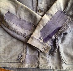 Faded indigo patches | Violet | Denim jacket | Used | Mended