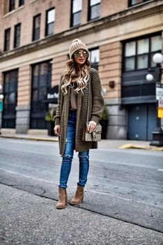 Under $100: Cozy Cardigans - Nordstrom Waffle Knit Cardigan // Lace Cami // AG Jeans // Nordstrom Suede Booties // Nordstrom Camel Beanie // Gold Aviators // Gucci 'Dionysus' Bag January 3rd, 2017 by maria
