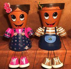 Boy Self Portrait Girl Self Portrait Clay Flower Pots