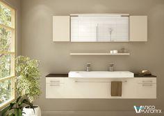 Graceful white double sink bath vanity by Vanico Maronyx / Smile Collection Bathroom Toilets, Bathroom Renos, Small Bathroom, Master Bathroom, Grand Menage, Scandinavian Bathroom, Bath Fixtures, Staircase Design, Bath Vanities