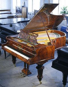An 1888, Bechstein Model V grand piano with an exquisite, burr walnut case #bechstein #bechsteinpiano