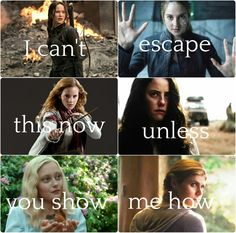 Katniss from The Hunger Games ~ Tris from Divergent ~ Hermione from Harry Potter ~ Teresa from The Maze Runner ~ Emma from Miss Peregrine's Home for Peculiar Children ~ Annabeth from Percy Jackson and The Olympians ~~~ lyrics from Demons ~ Imagine Dragons