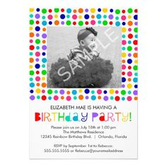 Rainbow Polka Dots Birthday Party Invitation: Such a cute #birthday invite for a fun kids #rainbow themed #birthdayparty. Personalize with your child's photo! $1.85