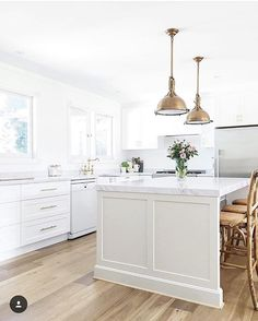 all white kitchen with gold and brass accents white shaker style cabinets light hardwood - Brass Kitchen Sinks