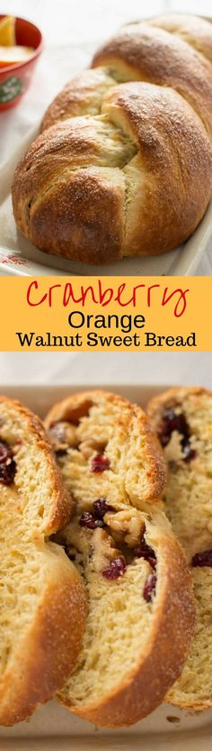 Cranberry Orange Walnut Sweet Bread - it's subtle orange flavor; soft, tender crumb, and surprise sweet fruit and nut filling are sure to please gift recipients and guests alike. www.savingdessert.com