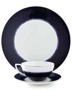 Trend Alert: Navy Blue  Navy Fringe dinnerware by Jasper Conran at Wedgwood; wedgwood.com.