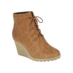 CHERRY-2 Women High Heel Wedge Ankle Boots - Camel