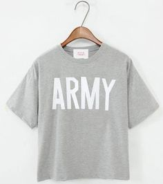 Summer Loose Casual Tops Letter Print T-shirt Kpop Shirts, Bts Shirt, Bts Clothing, Summer Tshirts, Graphic Tee Shirts, Printed Shorts, Casual Tops, Army, T Shirts For Women