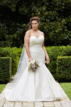 Wtoo strapless mermaid lace plus size wedding gown