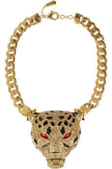 Roberto Cavalli Gold-plated Swarovski crystal panther necklace   NET-A-PORTER