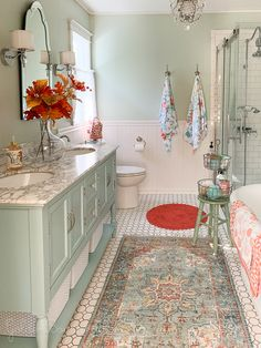 Best farmhouse bathroom decor ideas, bathroom interior design tips Bathroom Renos, Small Bathroom, Master Bathroom, Mint Bathroom, Feminine Bathroom, Bathroom Things, Shabby Chic Bathrooms, Farm Style Bathrooms, Small Vintage Bathroom