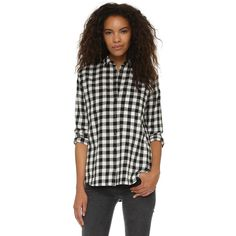 Madewell Oversized Boyfriend Shirt ($79) ❤ liked on Polyvore featuring tops, true black, black button down shirt, long sleeve flannel shirt, collared shirt, flannel shirts and button up shirts