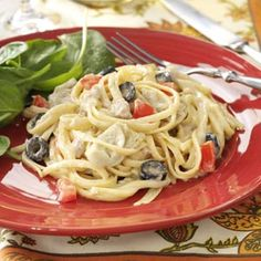 Mediterranean Tuna Linguine  It'll remind you of a fancier tuna noodle casserole, but this creamy dish comes together quickly in a skillet.