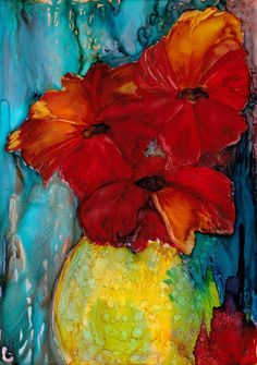 "Poppies  - a still life in alcohol ink - 8 1/4"" x 11 3/4"""