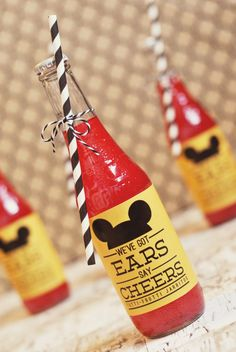 Mickey Beverages - Hudson's Vintage Mickey Mouse Third Birthday Party by One Swell Studio