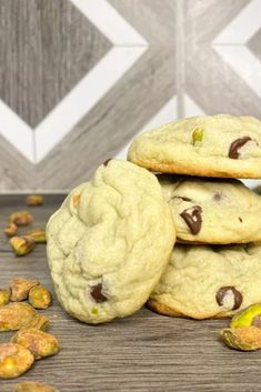 These pistachio chocolate chip pudding cookies are the SOFTEST soft batch cookie recipe. The best part? They are done in less than 15 minutes!! Quick and easy best pistachio chocolate chip cookies recipe.