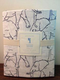 Pottery-Barn-Kids-Boys-Elephant-Sheet-Set-Safari-Animals-Full-size-New